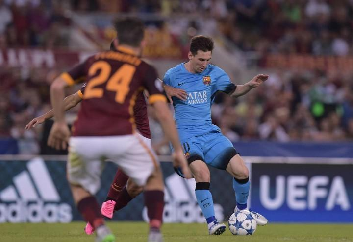 Messi_Florenzi_Barcellona_Roma_lapresse_2018