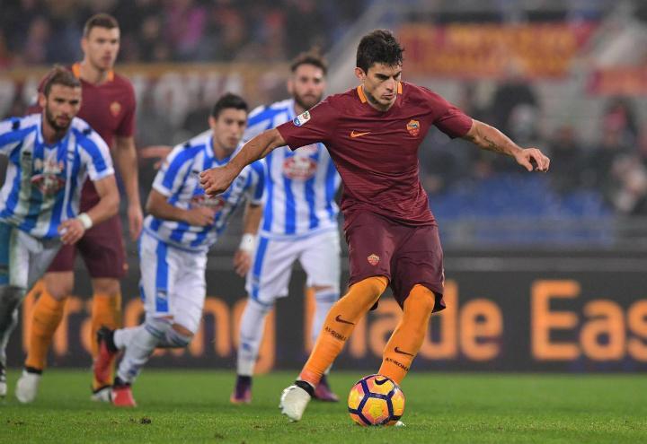 Perotti_rigore_Roma_Pescara_lapresse_2017