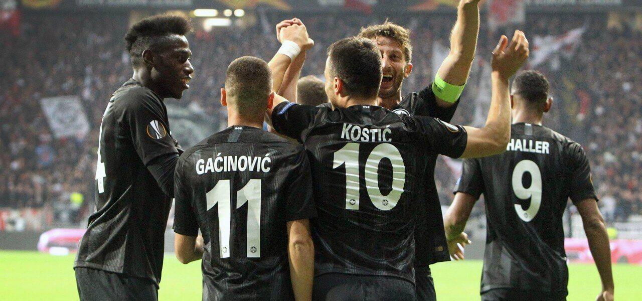 Gacinovic Kostic Eintracht esultanza lapresse 2018