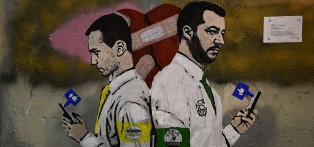 Murales a Roma Salvini e Di Maio