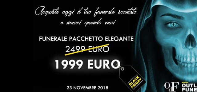Black Friday per il funerale: sconto per i morti
