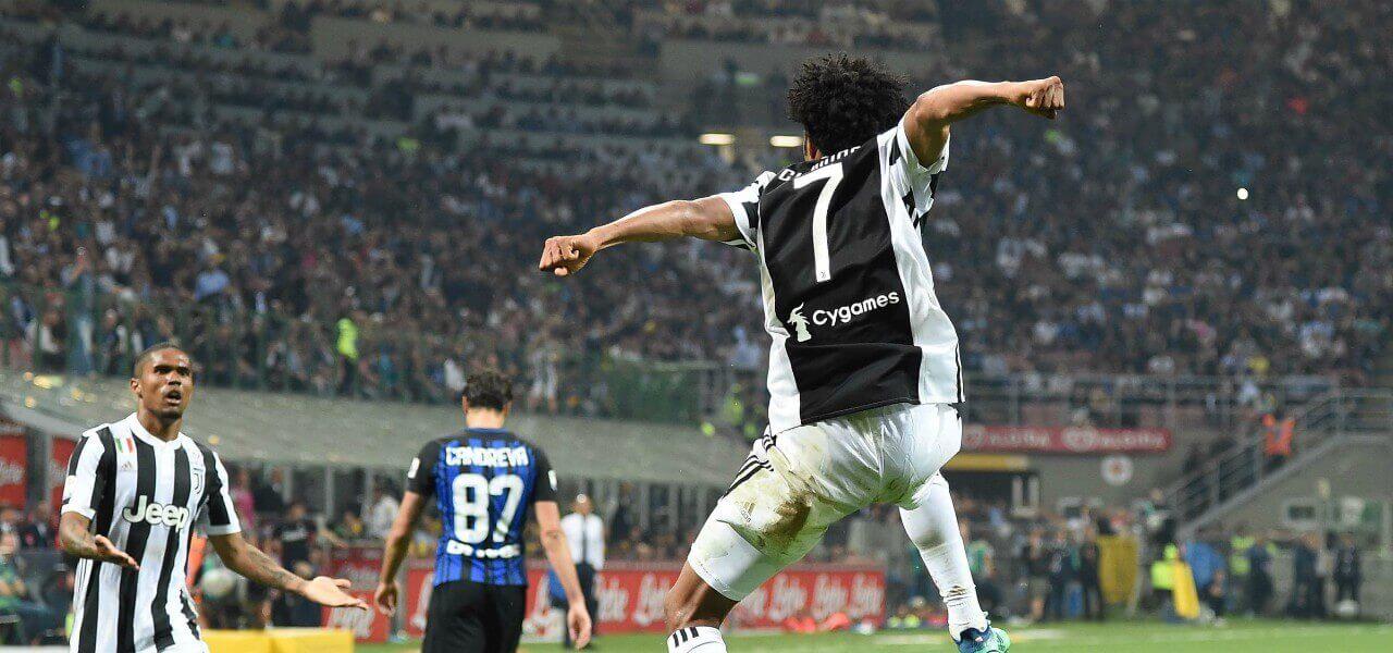 Cuadrado esultanza Douglas Candreva Juventus Inter lapresse 2018