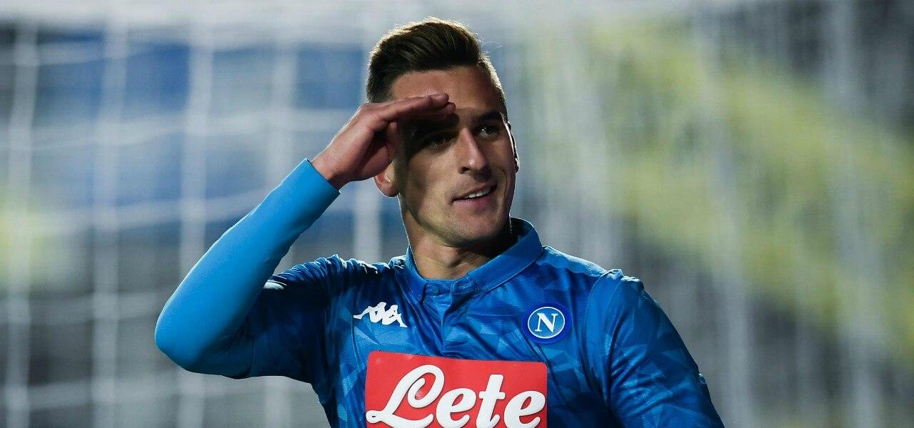 Milik gol esultanza Napoli Atalanta lapresse 2018
