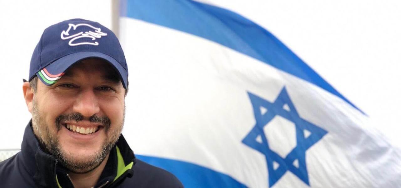 Risultati immagini per Salvini con bandiera di israele  immagini