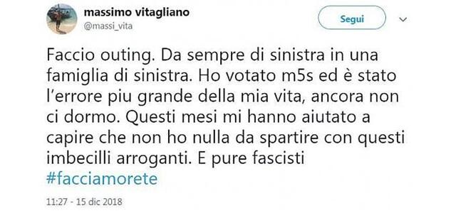 Massimo Vitagliano, post contro il M5s
