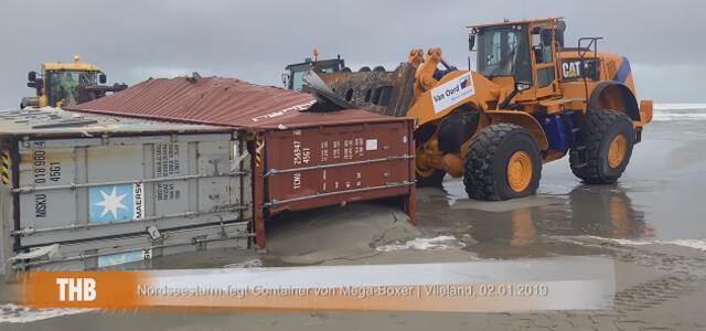Container sulla spiaggia: ruspe in azione