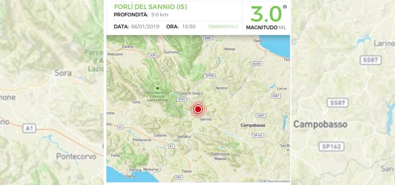 Terremoto Isernia di magnitudo 3.0