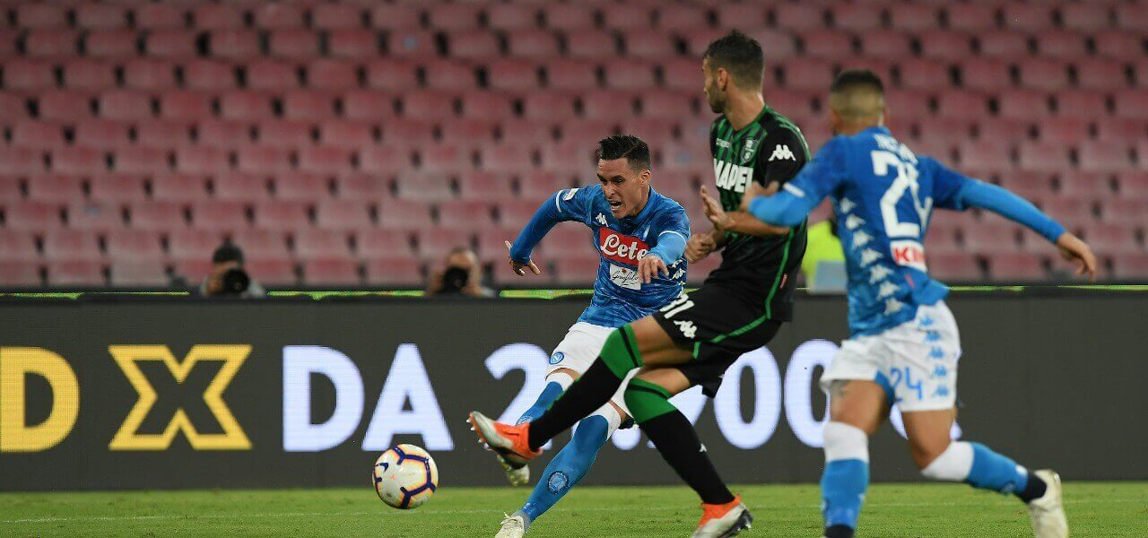 Callejon Napoli Sassuolo tiro lapresse 2019