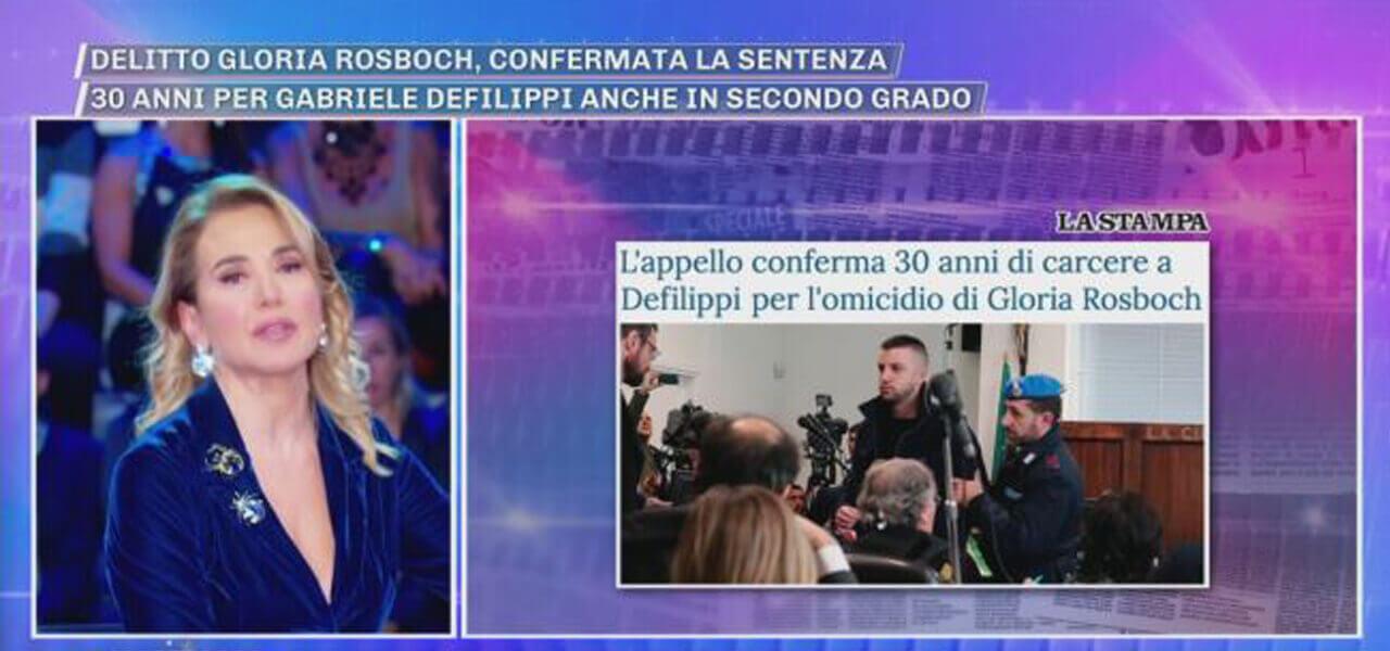 Delitto Rosboch, Barbara d'Urso a processo per diffamazione