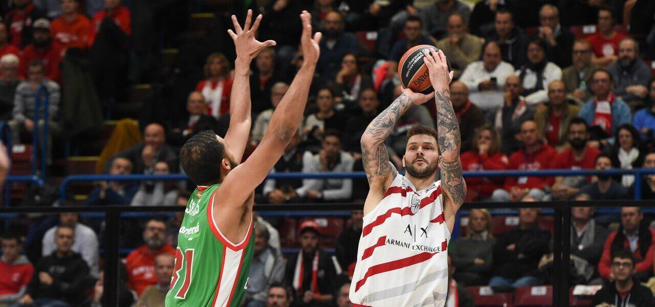 Micov tiro Olimpia Milano Baskonia lapresse 2019