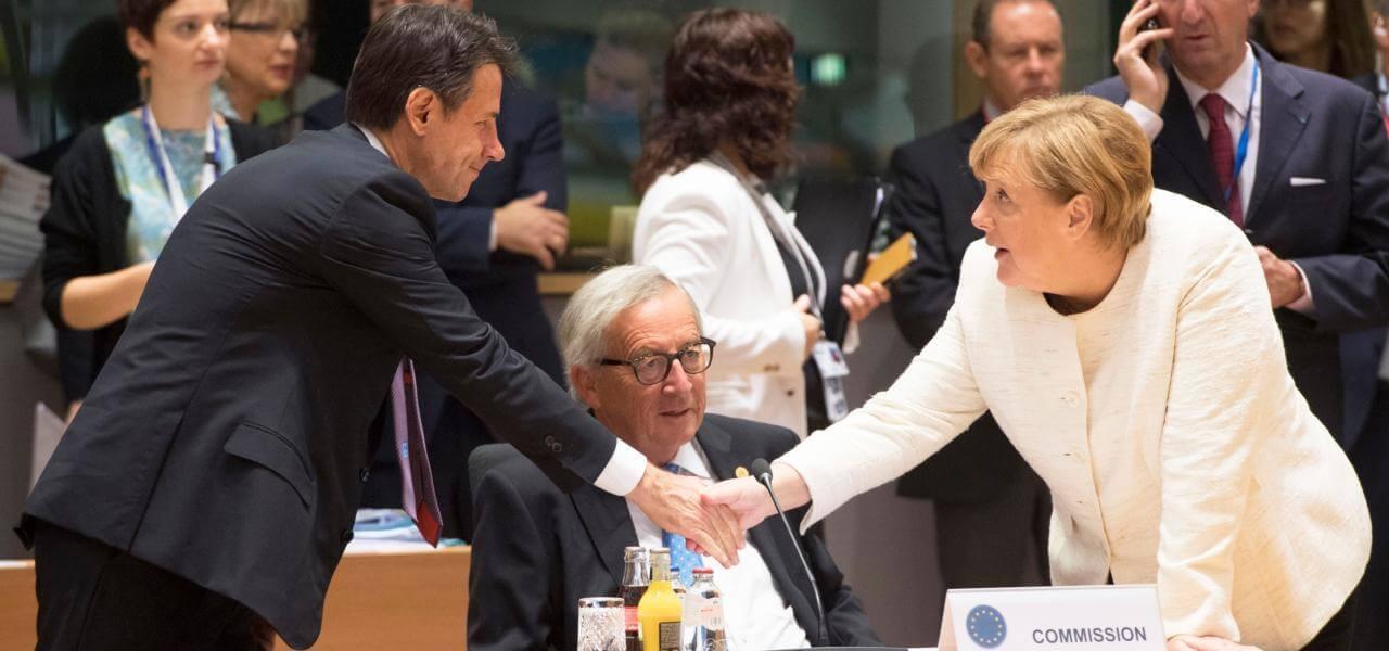 Conte, Juncker e Merkel