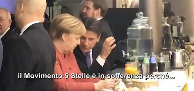 """Conte e Merkel a colloquio: il video """"rubato"""" da La7"""