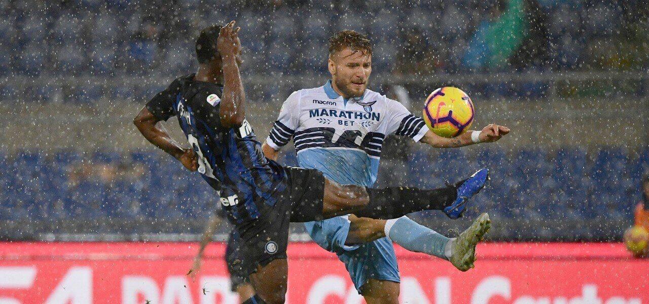 Asamoah Immobile Inter Lazio pioggia lapresse 2019