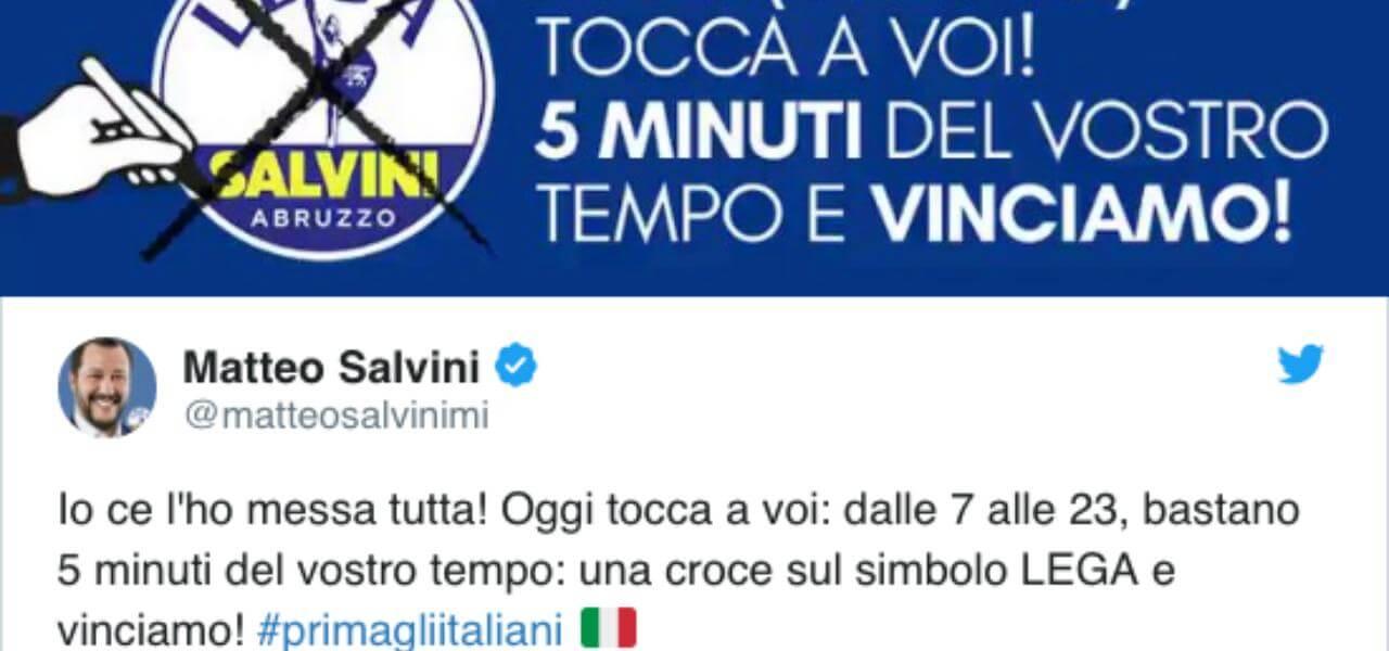 Salvini e il tweet sull'Abruzzo