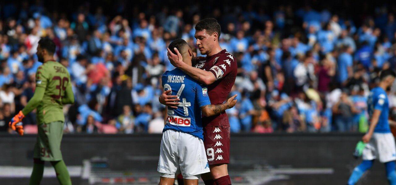 Insigne Belotti abbraccio Napoli Torino lapresse 2019