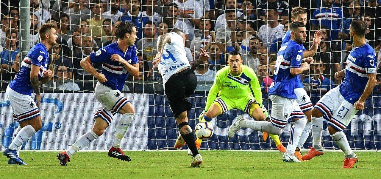 Nainggolan Audero tiro Sampdoria Inter lapresse 2019