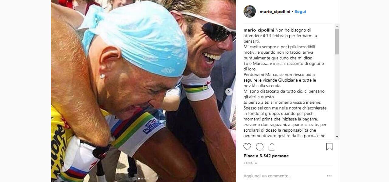 Il post di Cipollini in ricordo di Pantani