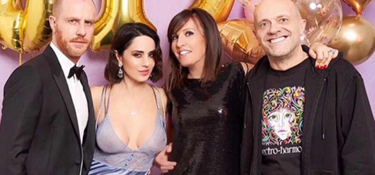 Paola Iezzi con il fidanzato Santambrogio e Max Pezzali