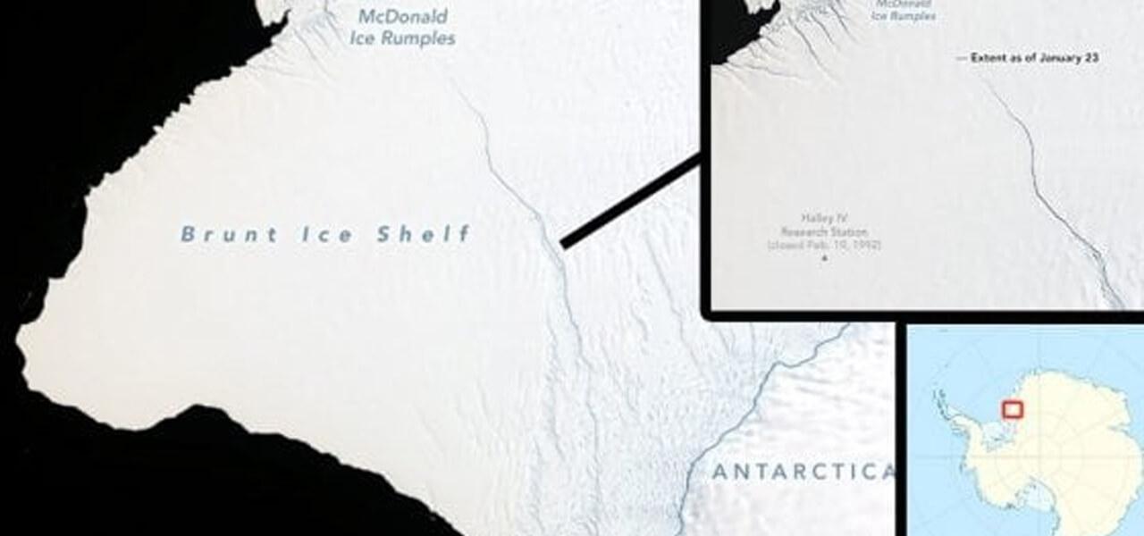 L'iceberg in distacco dalla Nasa
