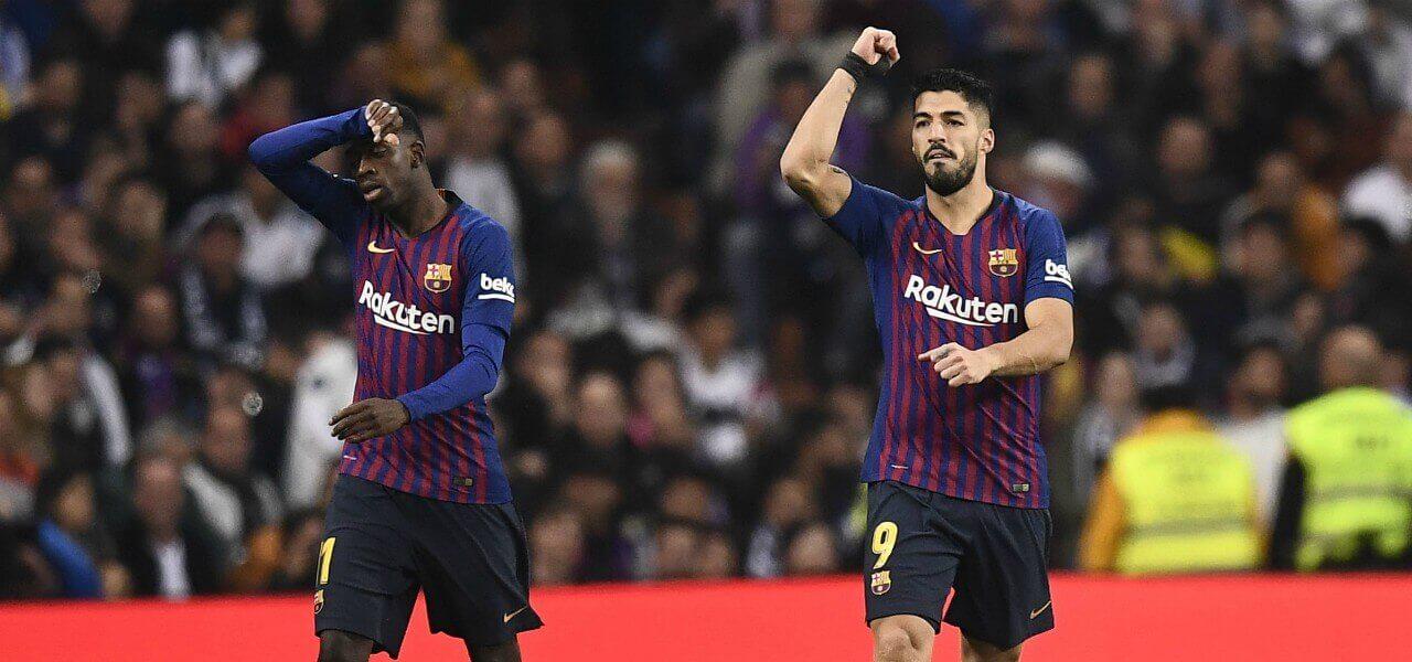 Suarez Dembele esultanza Barcellona lapresse 2019