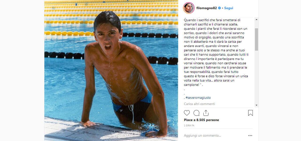 Filippo Magnini, foto su Instagram