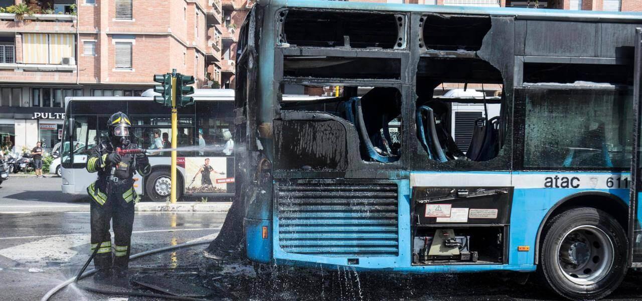 Roma, Autobus Atac 69 In Fiamme/ Incendio Piazzale Clodio
