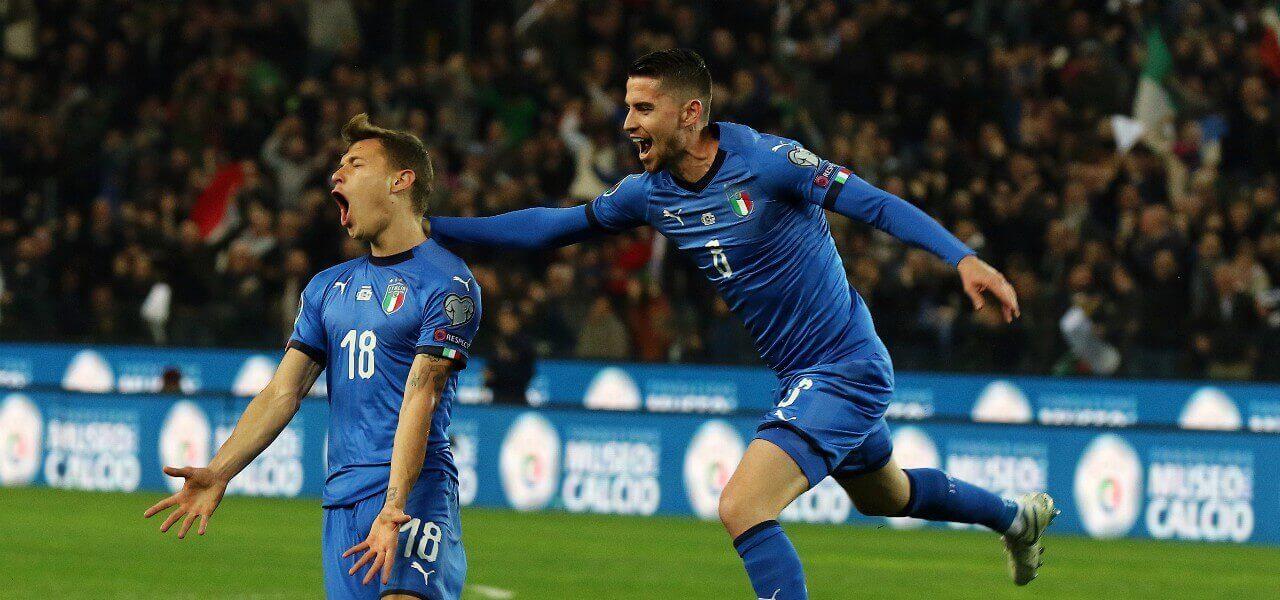 Barella Jorginho Italia Finlandia gol lapresse 2019