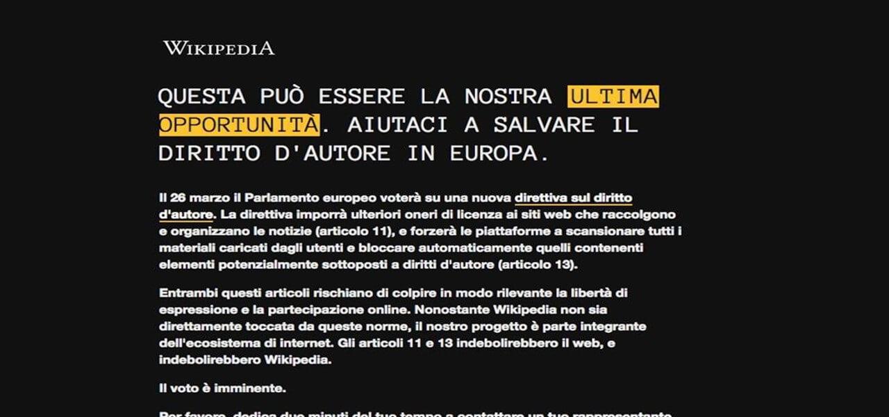 Wikipedia sito italiano oscurato riforma ue copyright for Sito parlamento italiano