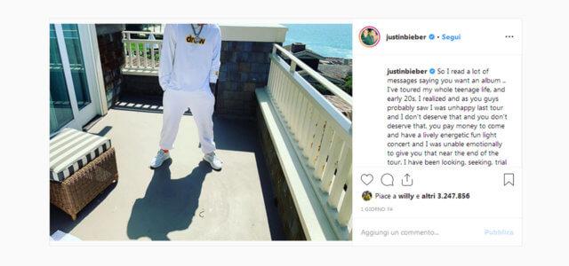 Justin Bieber lascia la musica