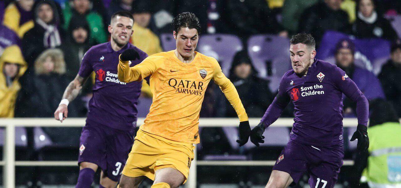 Schick Veretout Roma Fiorentina lapresse 2019