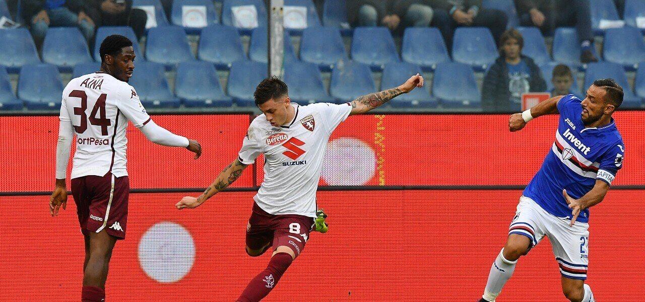 Baselli Quagliarella Aina Sampdoria Torino lapresse 2019