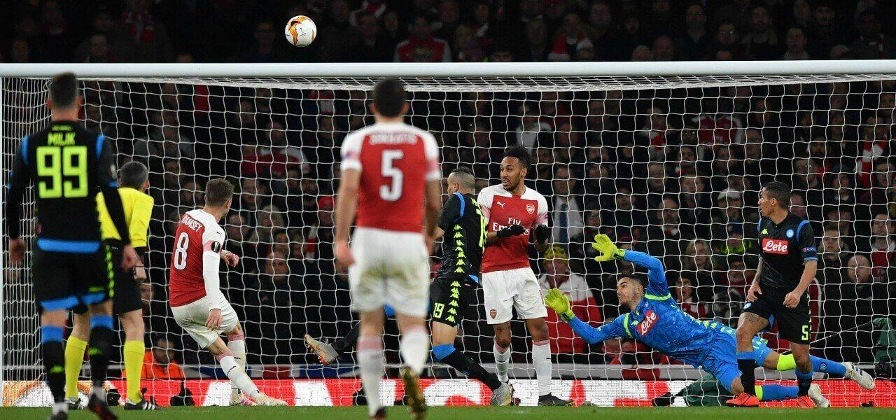 Ramsey tiro Arsenal Napoli lapresse 2019
