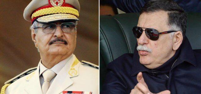 Il generale Khalifa Haftar (a sin.) e il presidente Fayez al-Serraj