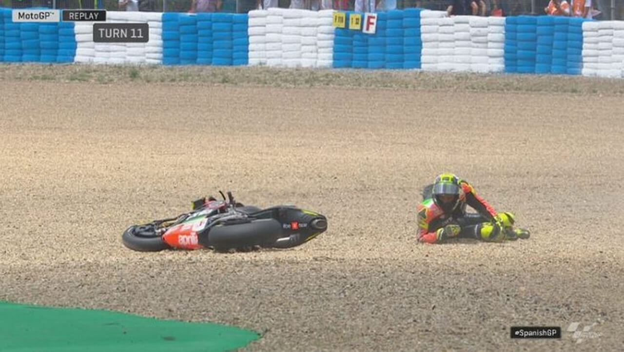 Iannone, caduta a Jerez