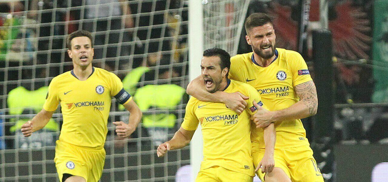 Azpilicueta Pedro Giroud gol Chelsea lapresse 2019