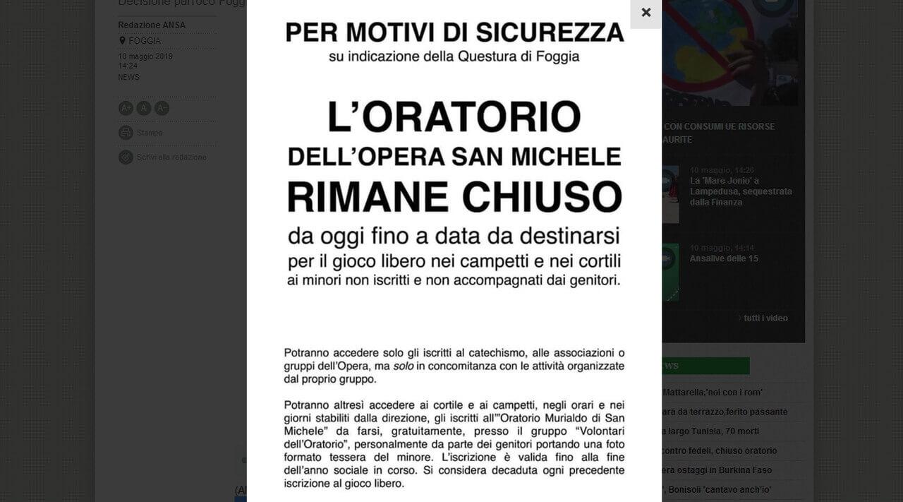 Oratorio chiuso a Foggia