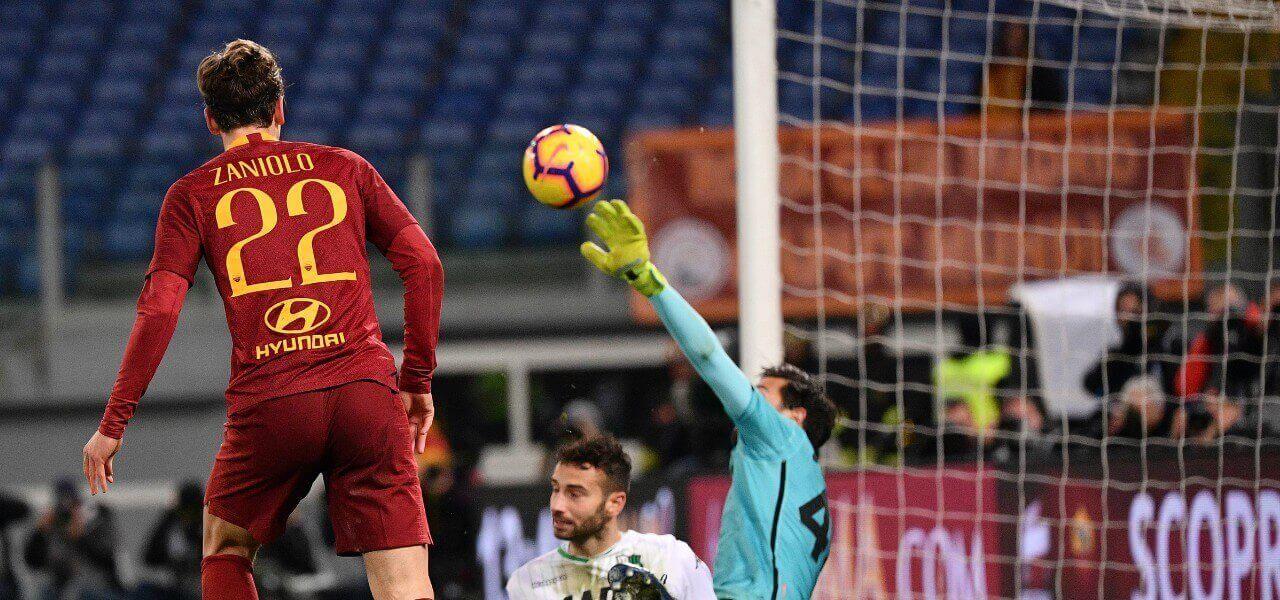 Zaniolo gol Consigli Roma Sassuolo lapresse 2019