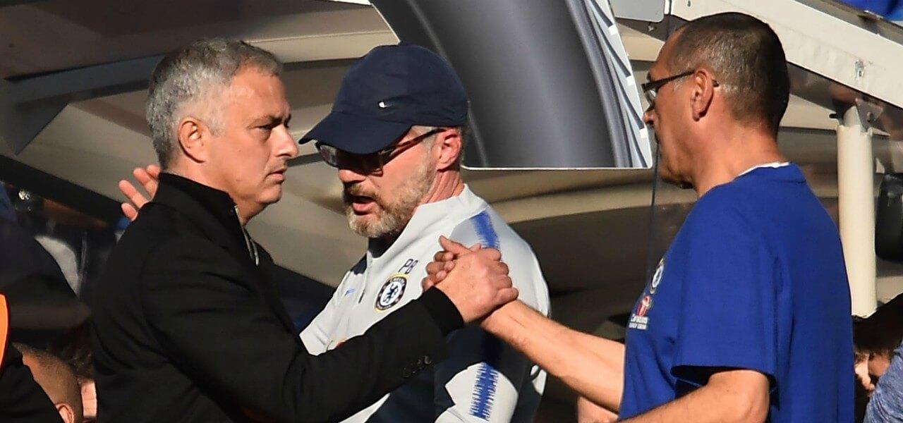 Mourinho Sarri saluto lapresse 2019
