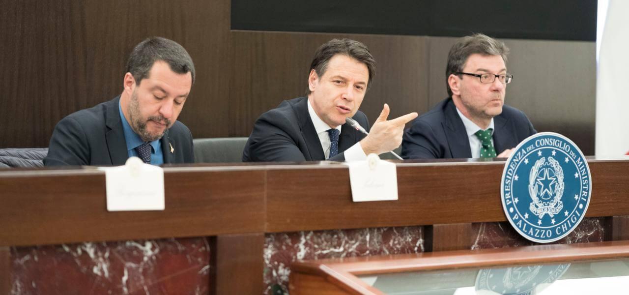Governo: Salvini, Conte e Giorgetti (LaPresse))