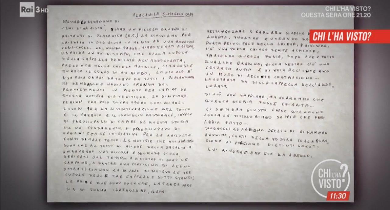 Placanica, lettera bambino (Rai)