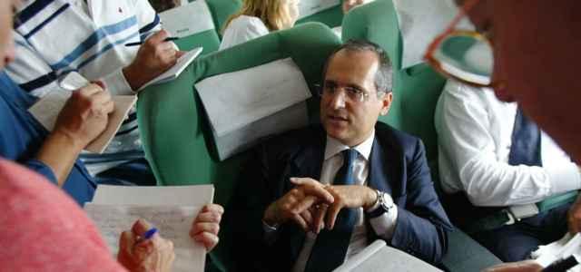Claudio Lotito nel 2004 su aereo Alitalia