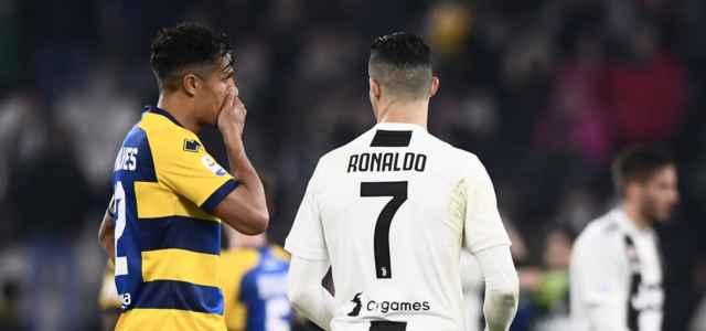 Bruno Alves Cristiano Ronaldo Parma Juventus lapresse 2019 640x300