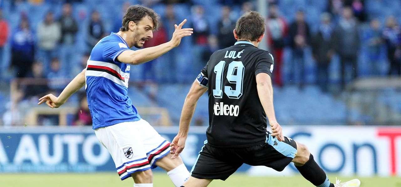 Gabbiadini Lulic Sampdoria Lazio lapresse 2019