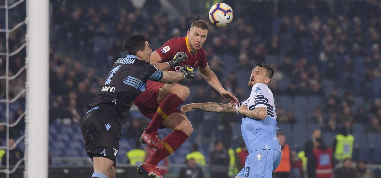 Dzeko Strakosha Acerbi Lazio Roma lapresse 2019