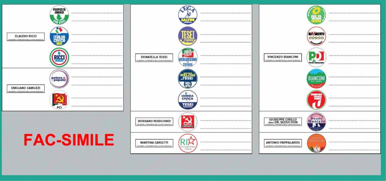 Risultati immagini per fac simile scheda elettorale regionali umbria 2019