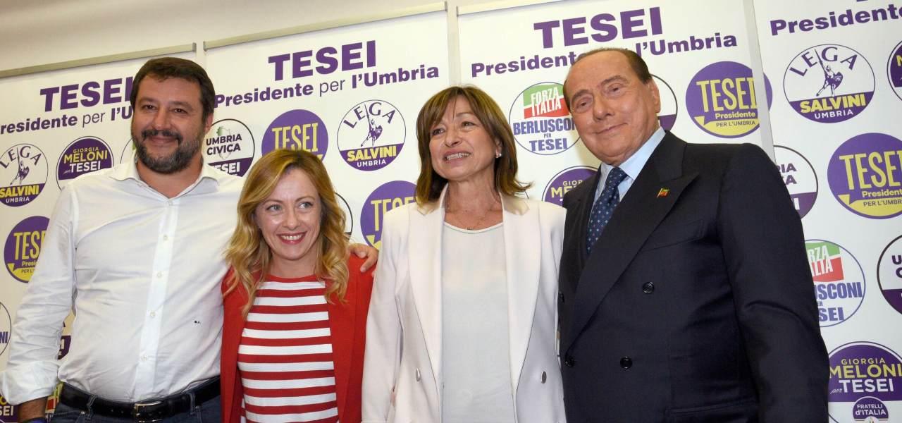 Salvini, Meloni, Berlusconi, Tesei
