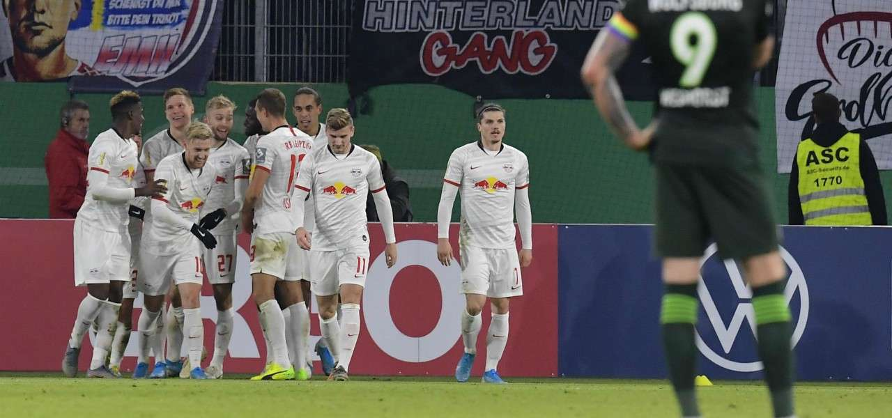 Lipsia esultanza Wolfsburg lapresse 2019