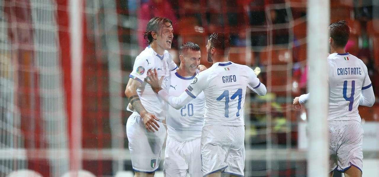 Zaniolo Bernardeschi Grifo Cristante Italia gol lapresse 2019