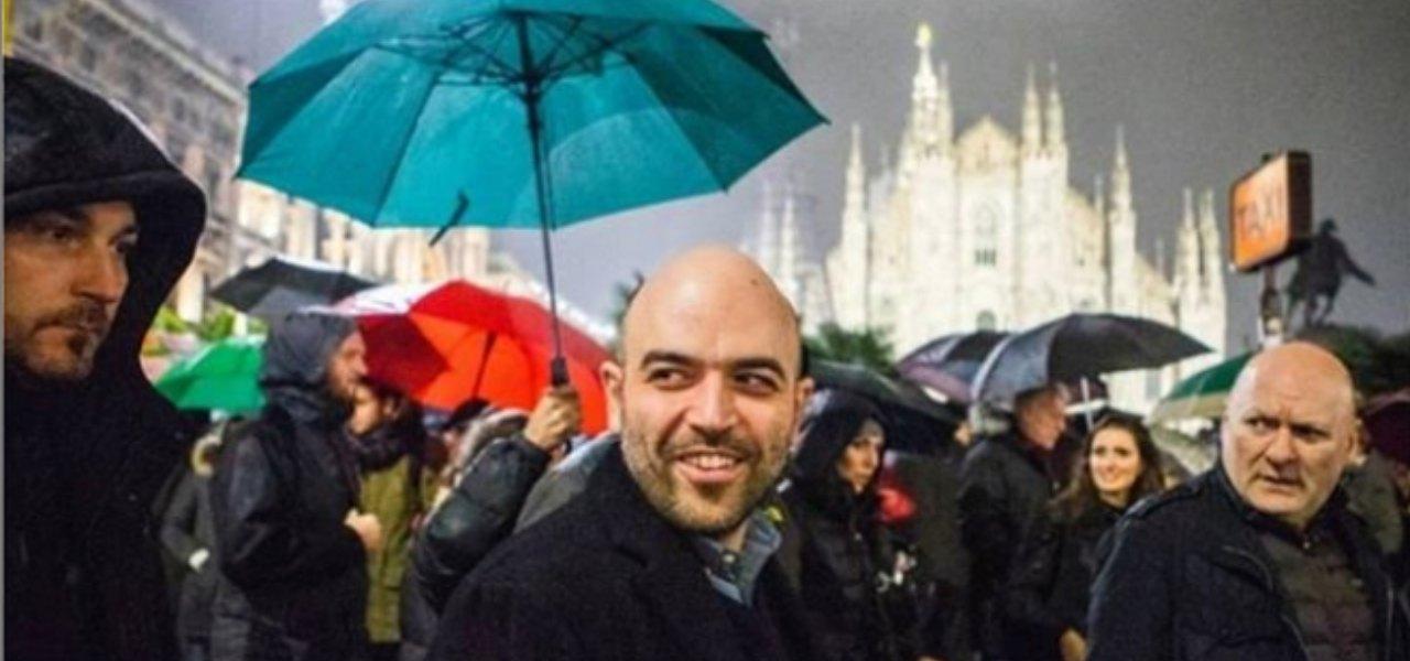 Saviano a Milano con le sardine