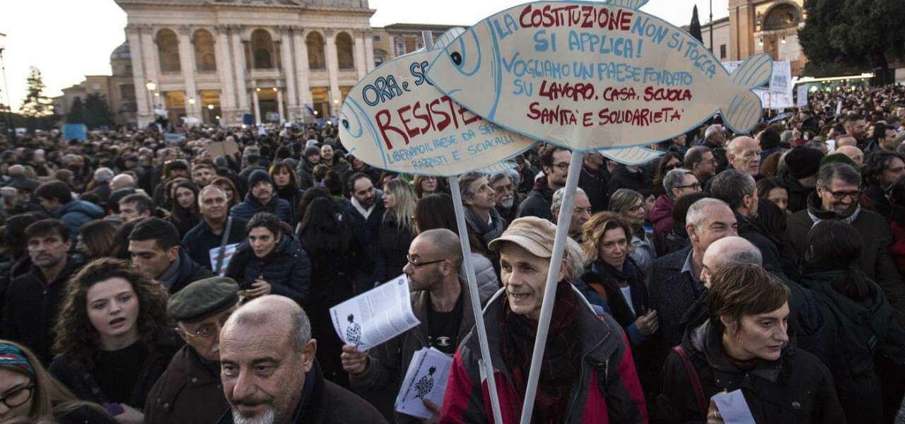 roma protesta sardine 6 lapresse1280